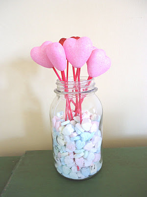 Mason Jar Centerpiece with hearts
