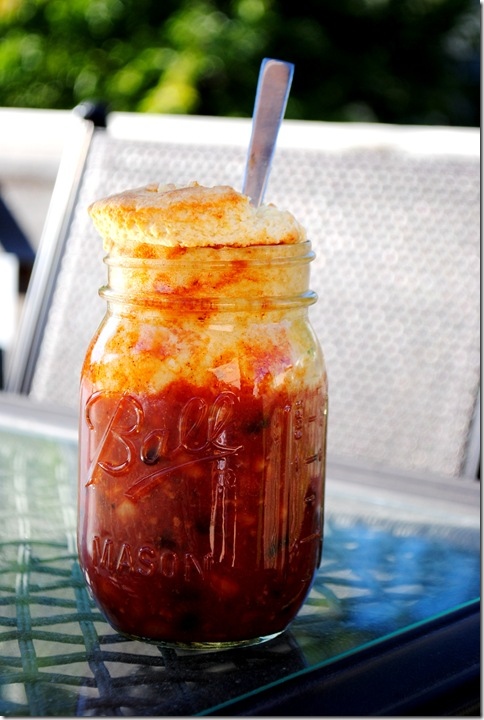 Cornbread & Chili Baked in Mason Jar