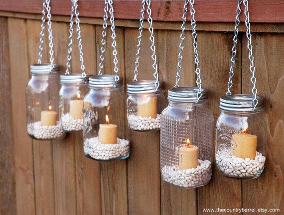 Mason Jar outdoor lights - garden