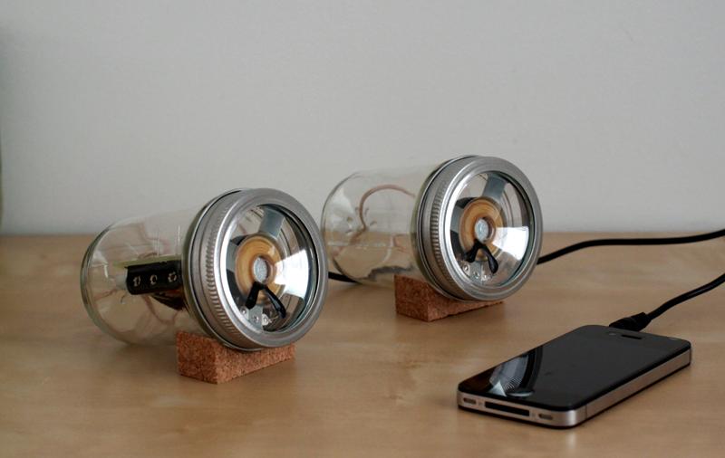 DIY speakers made from Mason Jars