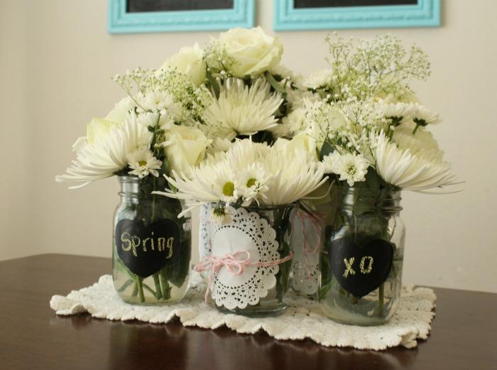 Spring flower bouquets centerpieces mason jar crafts