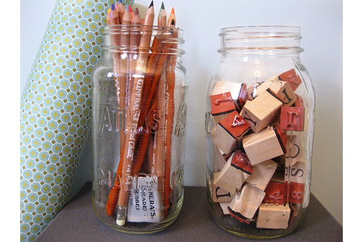 Art Supplies Stored in Mason Jars