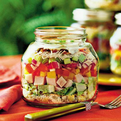 Layered Cornbread & Turkey Salad in a Mason Jar