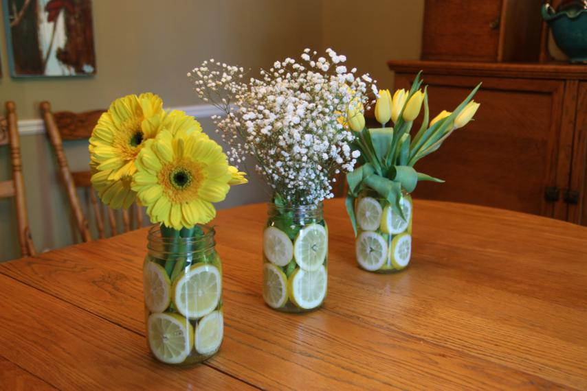 Mason Jar Vases with Lemon Slices