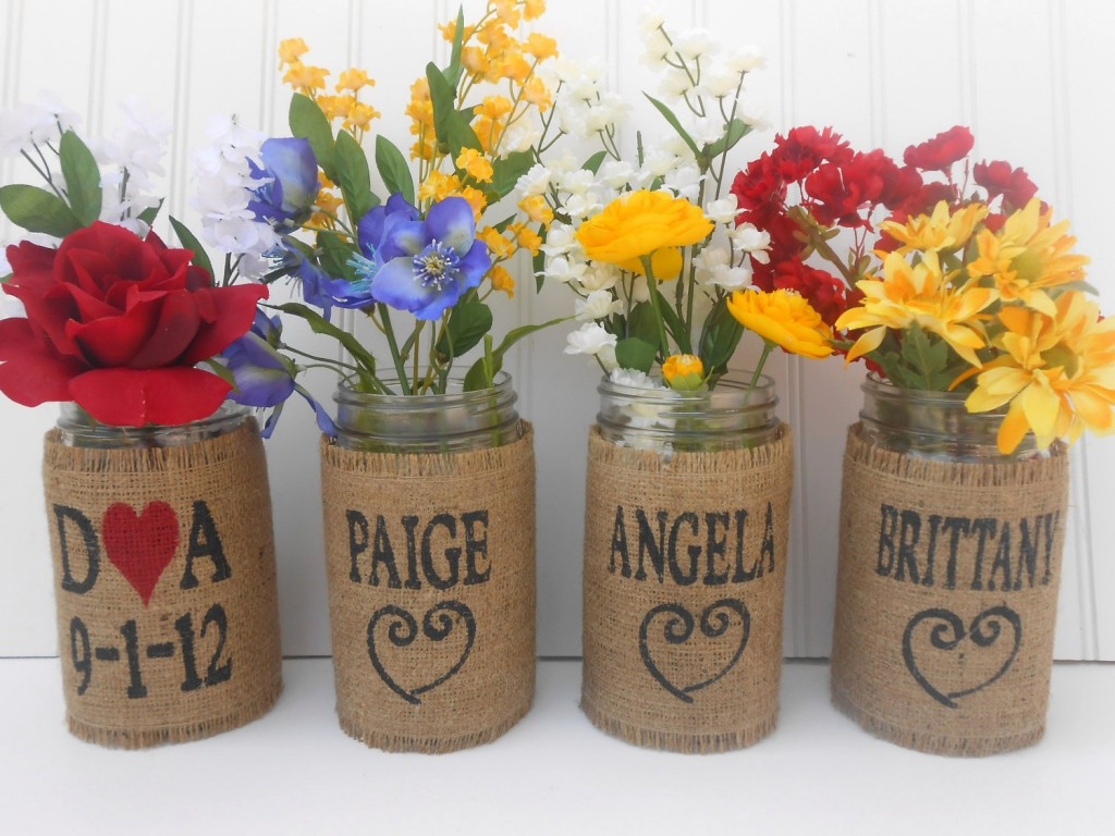 Personalized wedding bouquet Mason Jars