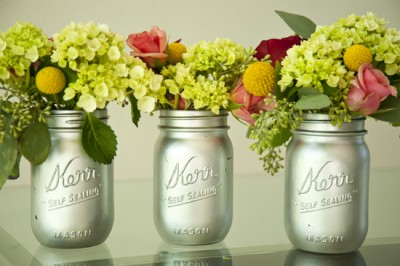 Silver painted Mason Jar vases