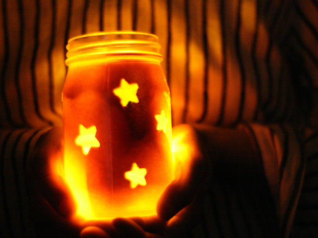 4th of july mason jar lights