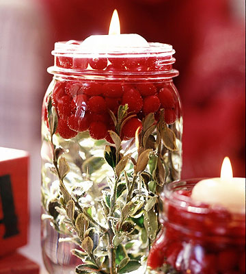 Cranberry mason jar centerpiece