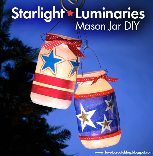 4th of July Mason Jar Luminaries