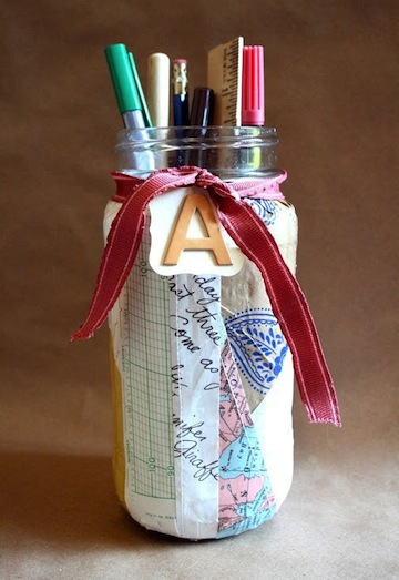 Patchwork Paper Covered Mason Jar