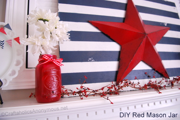 How to Make a Red 4th of July Mason Jar Centerpiece