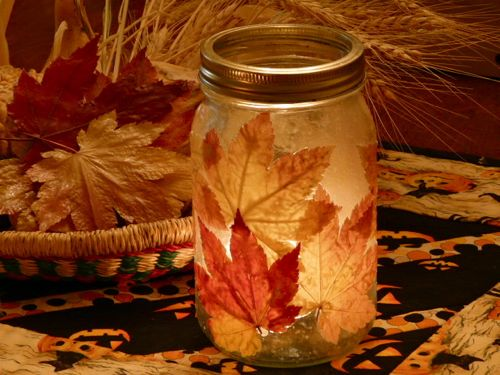 Fall Leaf Mason Jar Craft