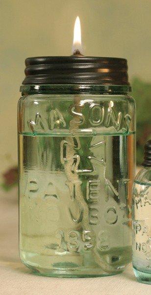 Mason Jar Citronella Oil Lamp