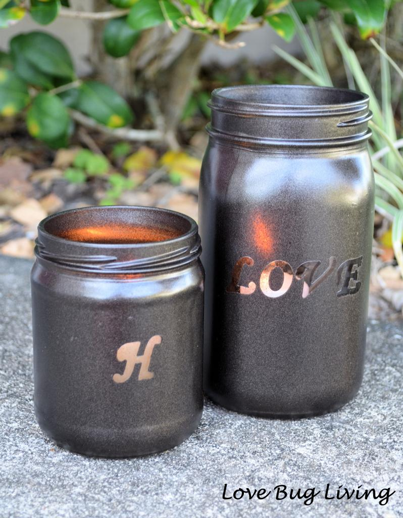Monogrammed Mason Jar Candle Holders