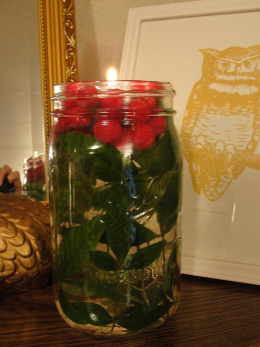 Beautiful Mason Jar Floating Candle Centerpiece
