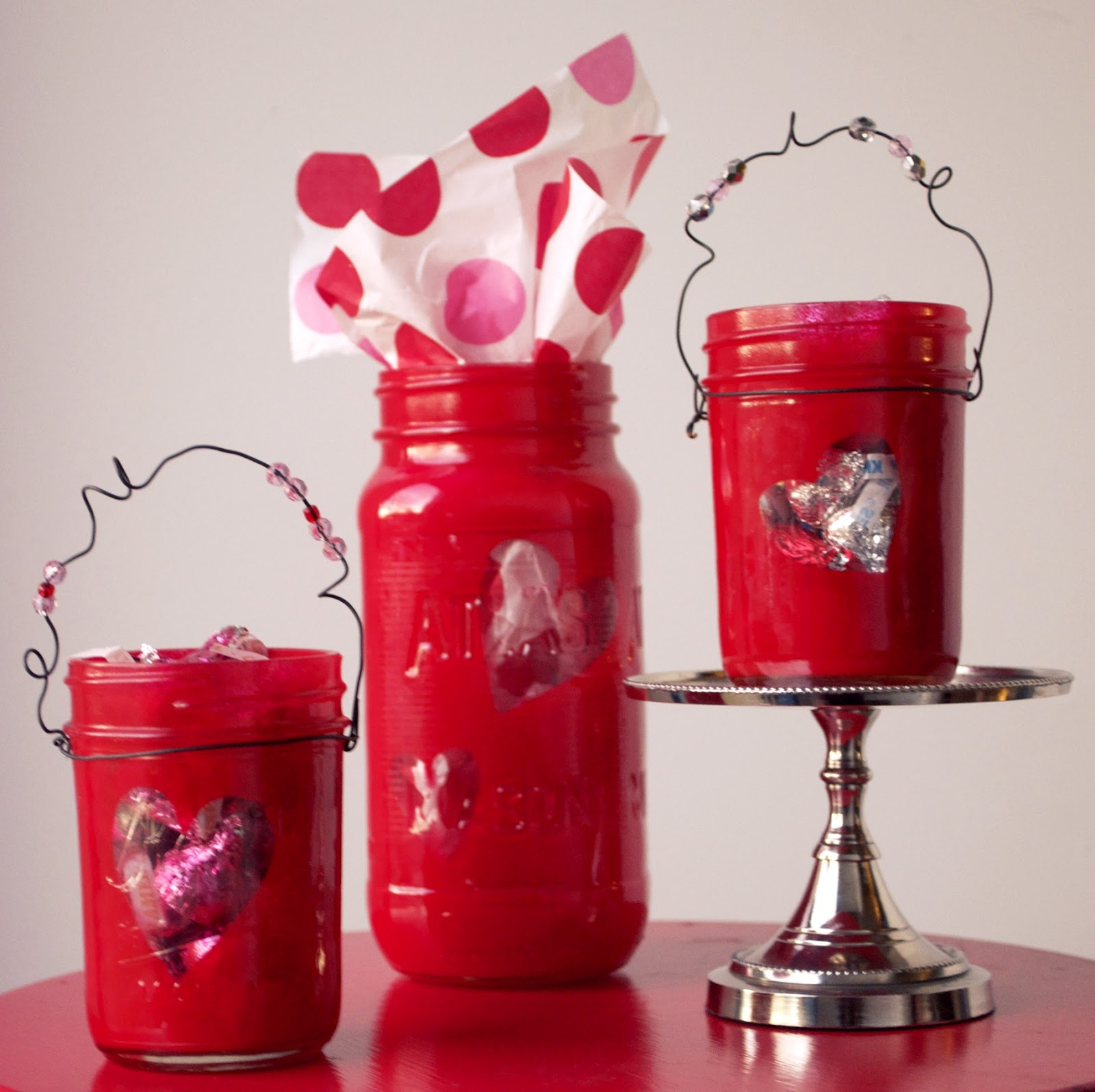 Red Painted Valentine Mason Jars