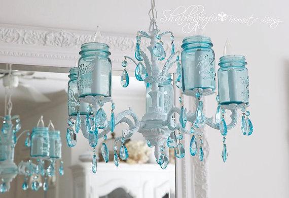 Stunning Custom Aqua Mason Jar