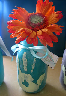 Mason Jar Handprint Mother's Day Vase