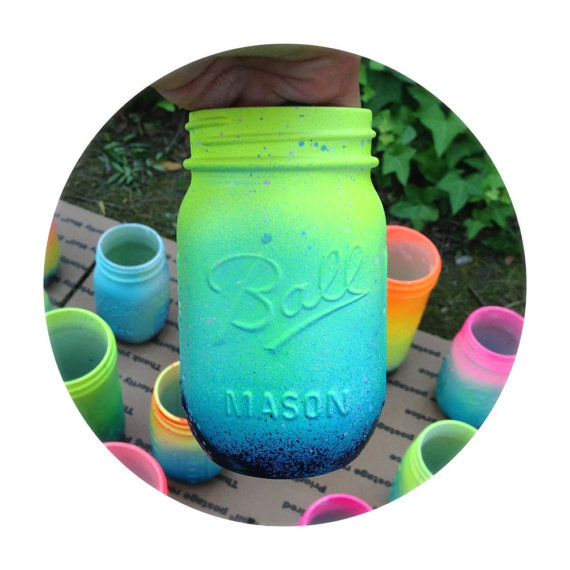 pastel mason jars
