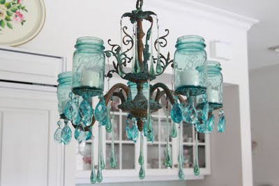 An Aqua Shabby Mason Jar Chandy
