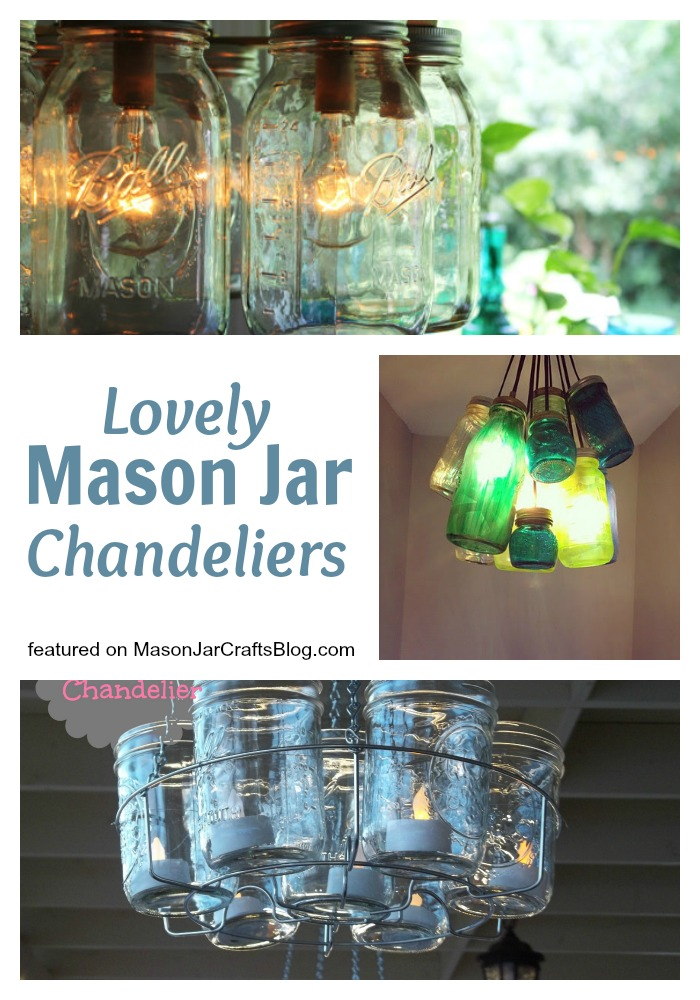 Beautiful Mason Jar Chandeliers - featured on MasonJarCraftsBlog