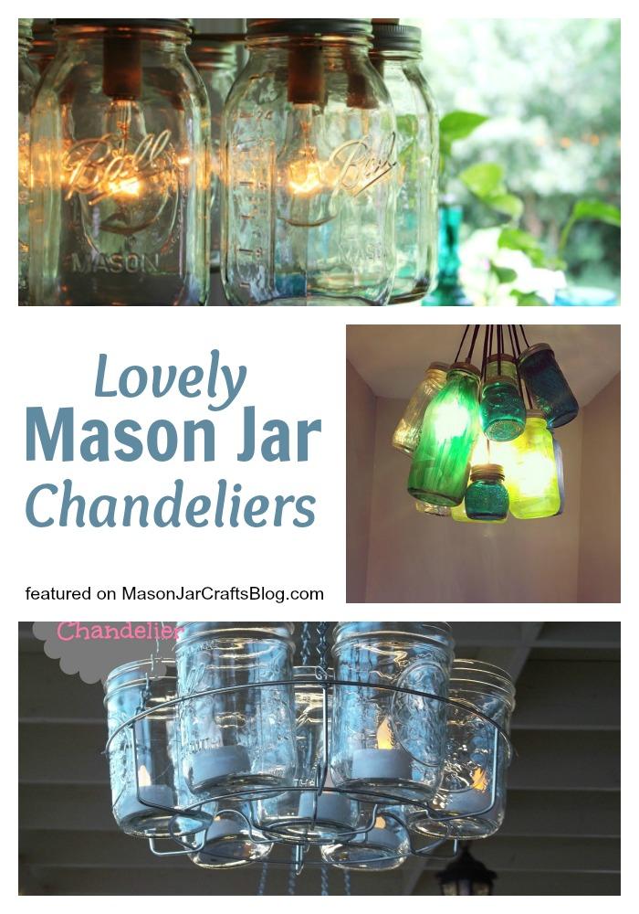 Beautiful Mason Jar Chandeliers - featured on MasonJarCraftsBlog
