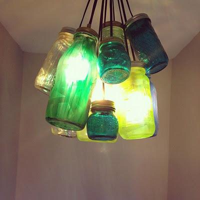 Beautiful, colorful, DIY Mason Jar chandelier - Momcaster