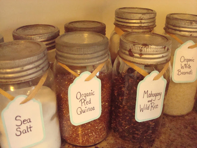 Rustic kitchen storage using Mason Jars and DIY labels. Perfection. -- Momcaster