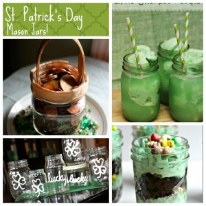 FUN St. Patrick's Day Mason Jars featured on MasonJarCraftsBlog.com