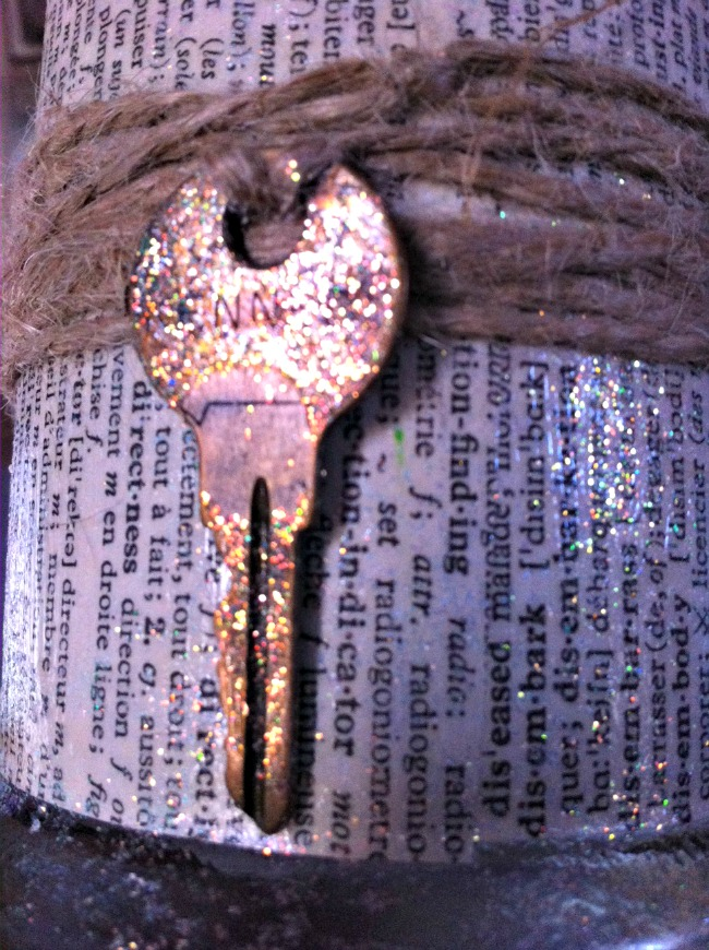 Wedding Center Piece idea using Dollar Store candle holders, keys and vinegar. :-)