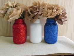 Beautiful red, white & blue Patriotic Mason Jars!