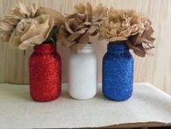 Beautiful red, white & blue Patriotic Mason Jars!
