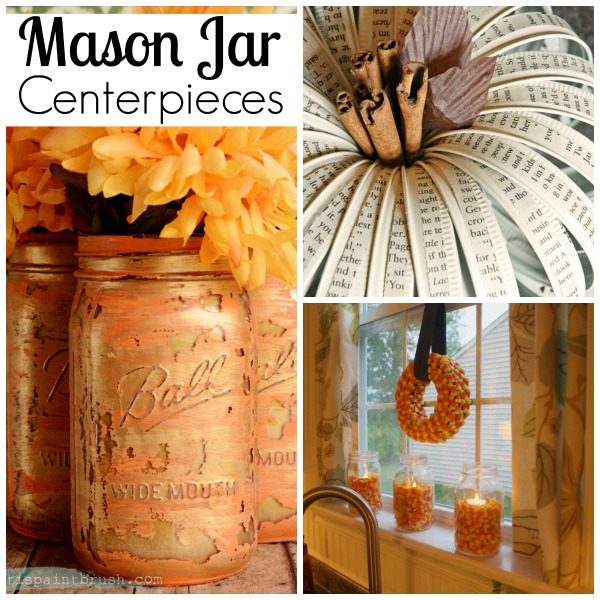 Such beautiful Mason Jar centerpieces. Change the colors up a bit and you can use them throughout the holidays.