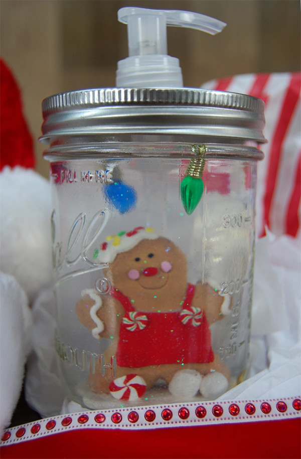 Mason Jar Snow Globe Soap Dispenser
