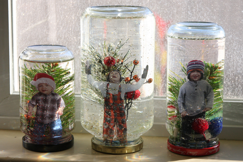Mason Jar Snow Globes with Photos