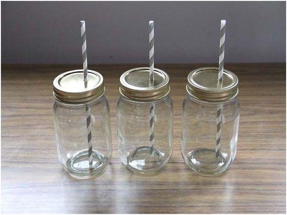 Mason Jar Cups with Straw Picture 3