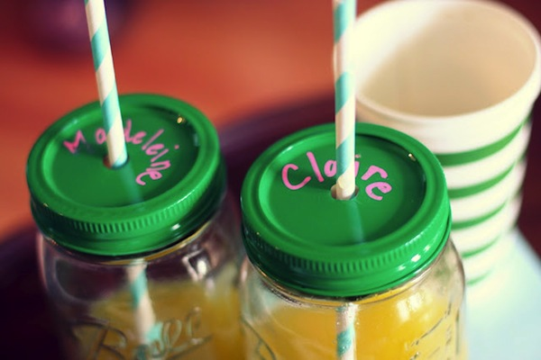 Personalized Mason Jar Cups with Straw