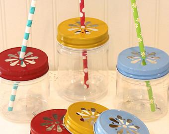 Plastic Mason Jar Cups with Straw