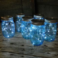 Blue Mason Jar Fairy Lights