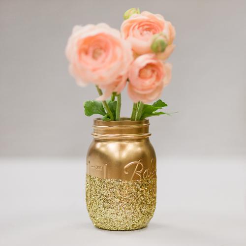 Glitter Mason Jar Vase