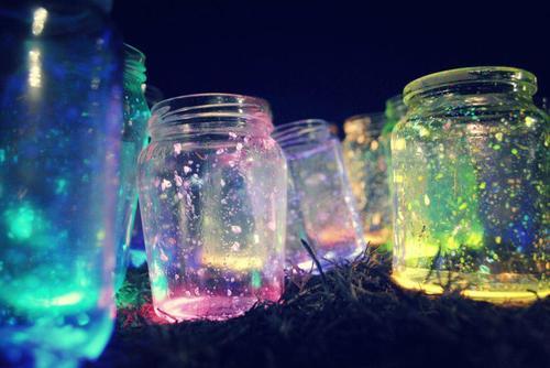 Glow Stick Glitter Mason Jar