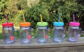 Mason Jar Drinking Glasses with Handles and Lids