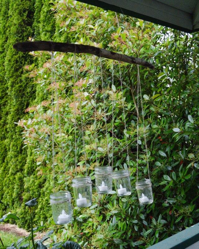 Mason Jar Hanging Candelabra