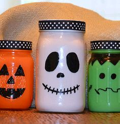 Mason Jar Painted Pumpkins