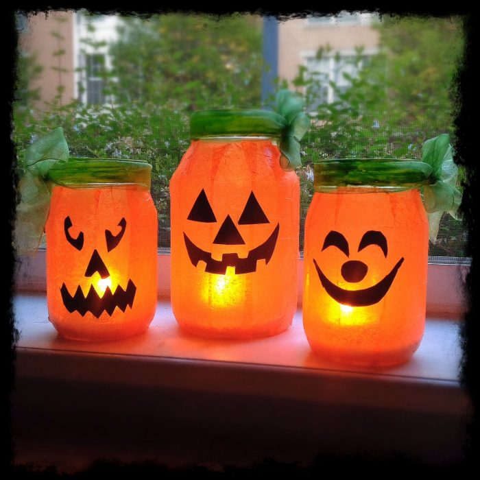 Mason Jar Pumpkin Lights