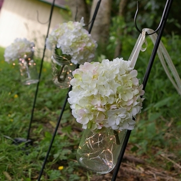 Mason Jars Hanging By Ribbons