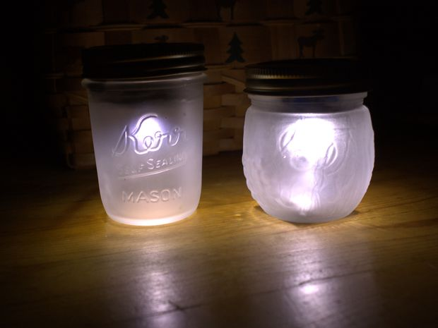 Frosted Mason Jar Solar Lights