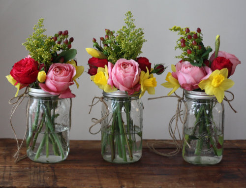 Hanging Mason Jar Flowers