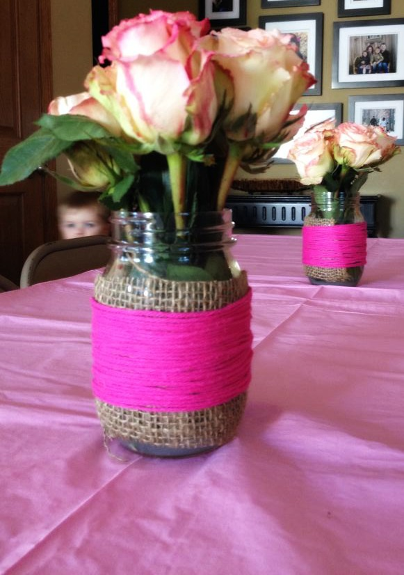 Mason Jar Flower Centerpiece for Baby Shower