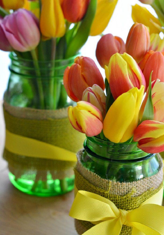 Mason Jar Flowers Burlap
